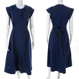 SEA New York Lennox Tie Waist Midi Dress womens size 10 navy blue